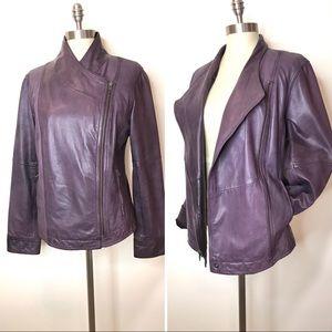 J. Jill moto jacket purple leather size medium